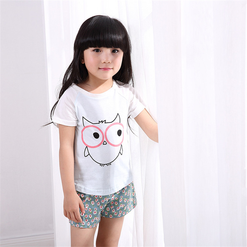 Retail Brand 2015 Summer New Baby Kids Girls T Shirt Child Clothing Childrens Tops Printed Short Sleeve Tee Blouse Shirts