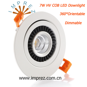 360 Degree Orientable 7W LED Ceiling Spot Lights Driverless Dimmable HV COB Downlight Adjustable LED Recessed Lighting