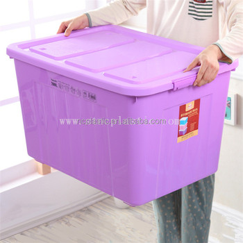 138 Litre Extra Large Huge Strong Plastic Storage Boxes Wheels Clip
