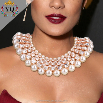 c7883cb368486 Nlx-00235 Big Fake Pearl Choker Necklace Jewelry Multilayer Crystal Diamond  Gold Plated For Women - Buy Pearl Necklace Jewelry,Choker Pearl,Fake Pearl  ...