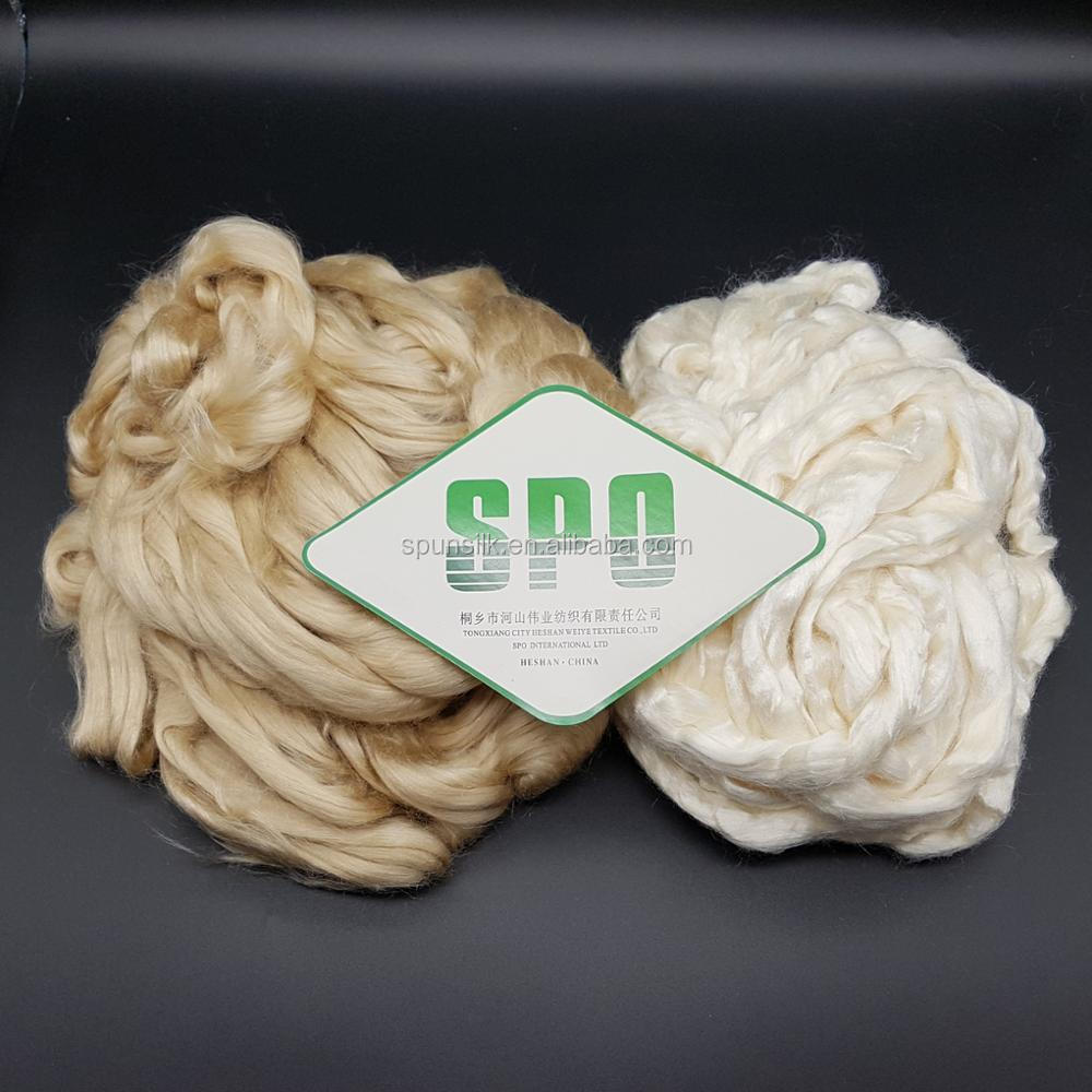 100% Pure tussah silk fiber wholesale from silkworm cocoon for blending with cashmere fiber
