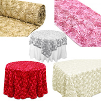 satin rosette tablecloth,/fabric/ table runner,/overlay
