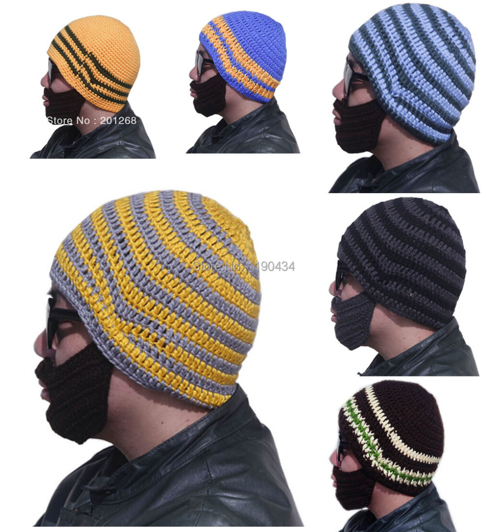 8aaaa94794d Get Quotations · Hand-made Acrylic Boy Men s knitted beard hat beanie  crochet hat