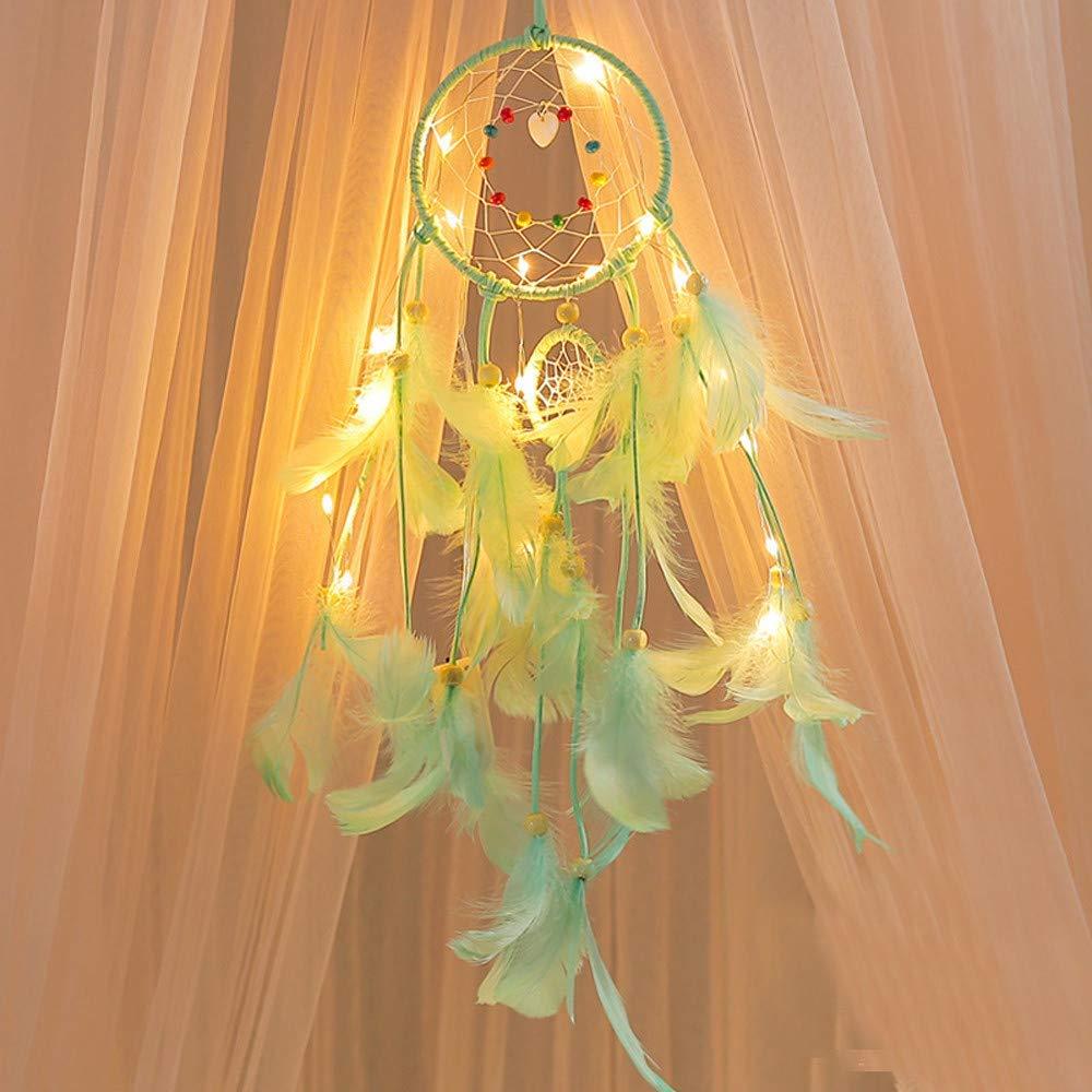 Yezijin Outdoor Led Light String, Handmade Dreamcatcher Feathers Night Light Car Wall Hanging Room Home Decor (Green)