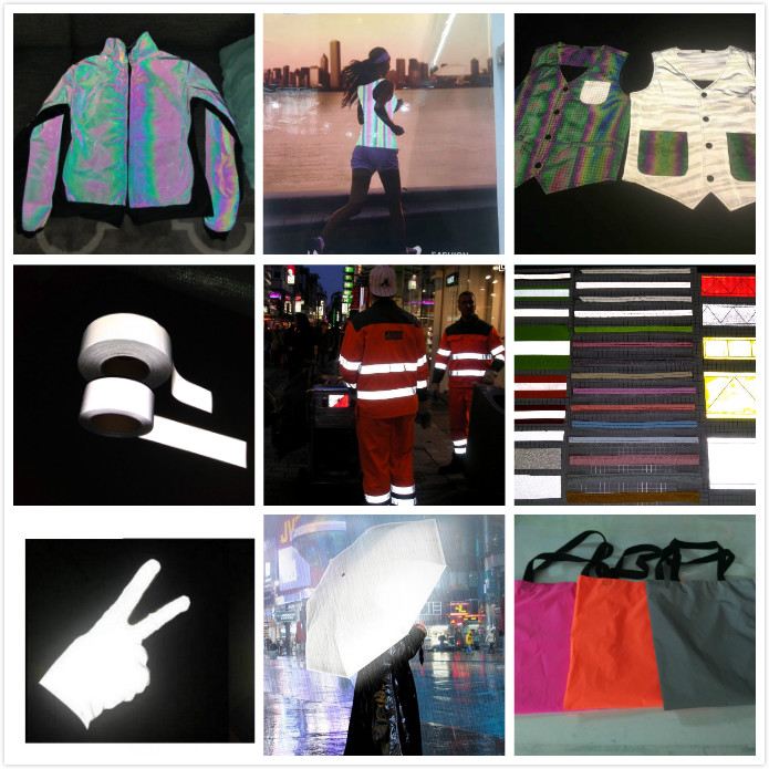 glow in the dark highly reflective specification polyester oxford raincoat knit reflective fleece fabric rolls for construction