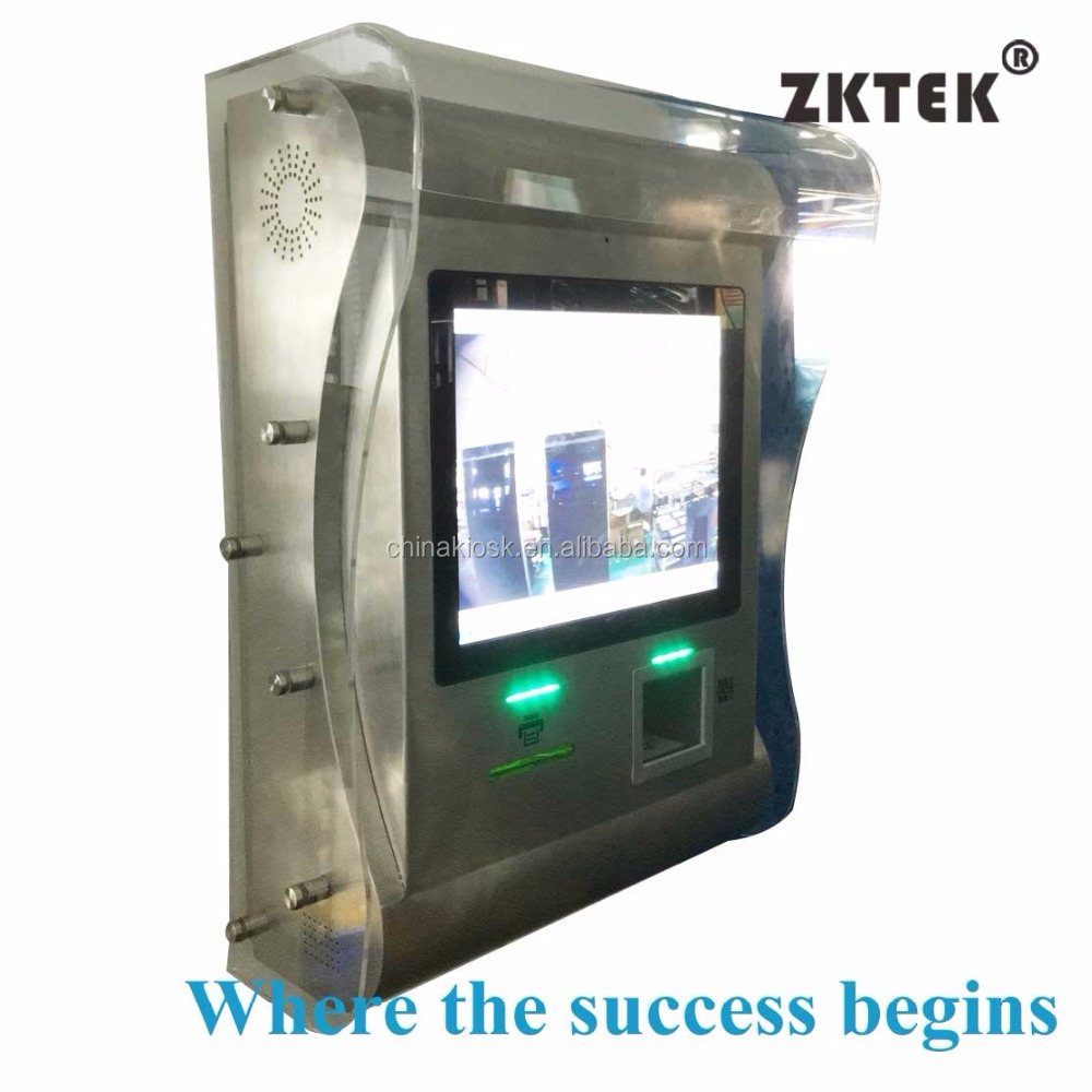 stainless steel projective capacitive waterproof touchscreen kiosk with thermal printer barcode and NFC reader and WIFI