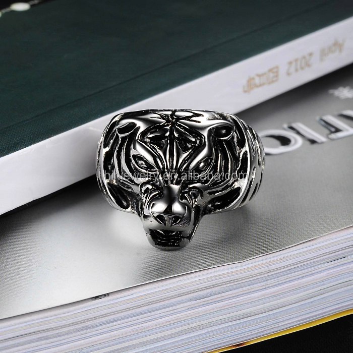 Fashion 316 Stainless Steel Tiger Head Ring Jewelry For Man
