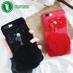 For iPhone 7 Plus Case Plush Fur Hairy Ball Case Pearl Bowknot Cover for fluffy iphone case