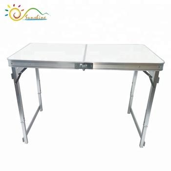 Portable Folding Table Sturdy And Lightweight Steel Frame Legs, 4  Adjustable Heights Feet