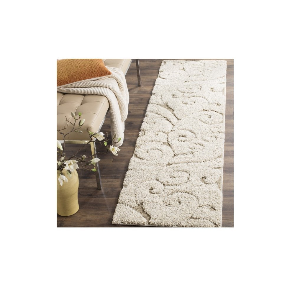 1 Piece Off White Cream Beige Shag Scrollwork Runner Rug, Pretty Floral Long Carpet, Motif Scrolling Vine Accents Pattern Entraceway Hallway Flooring, Polypropylene, Stain Resistant 2'3 Ft X 8 Ft