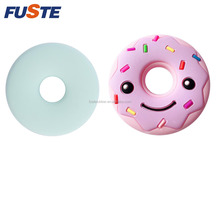 Hot selling BPA free funny donut silicone biscuit baby teether