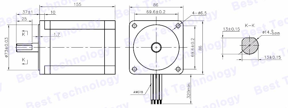 Nema 34 Cnc Stepper Motor 86x155mm 12 N M 6a Diameter 14mm