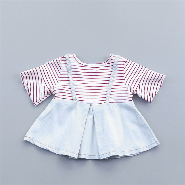 baby girls autumn high quality striped long sleeve shirt kids jeans frocks dress