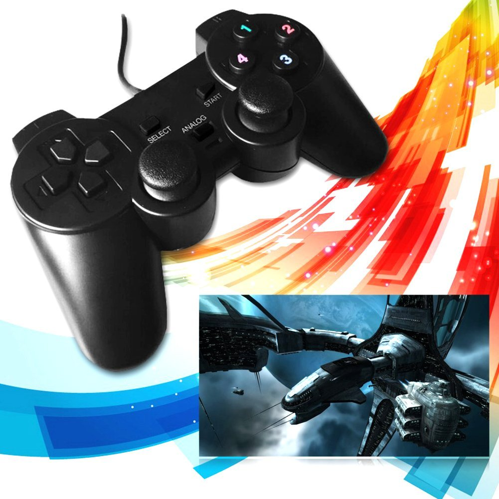 PC Wired USB Vibration Game Controller Shock GamePad Joystick for Computer Laptop