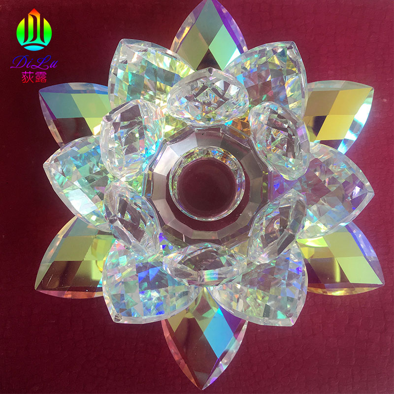 DL-21ZT031 New Design Shiny Plating Color Diameter K9 Crystal votive lotus candle holder wholesale