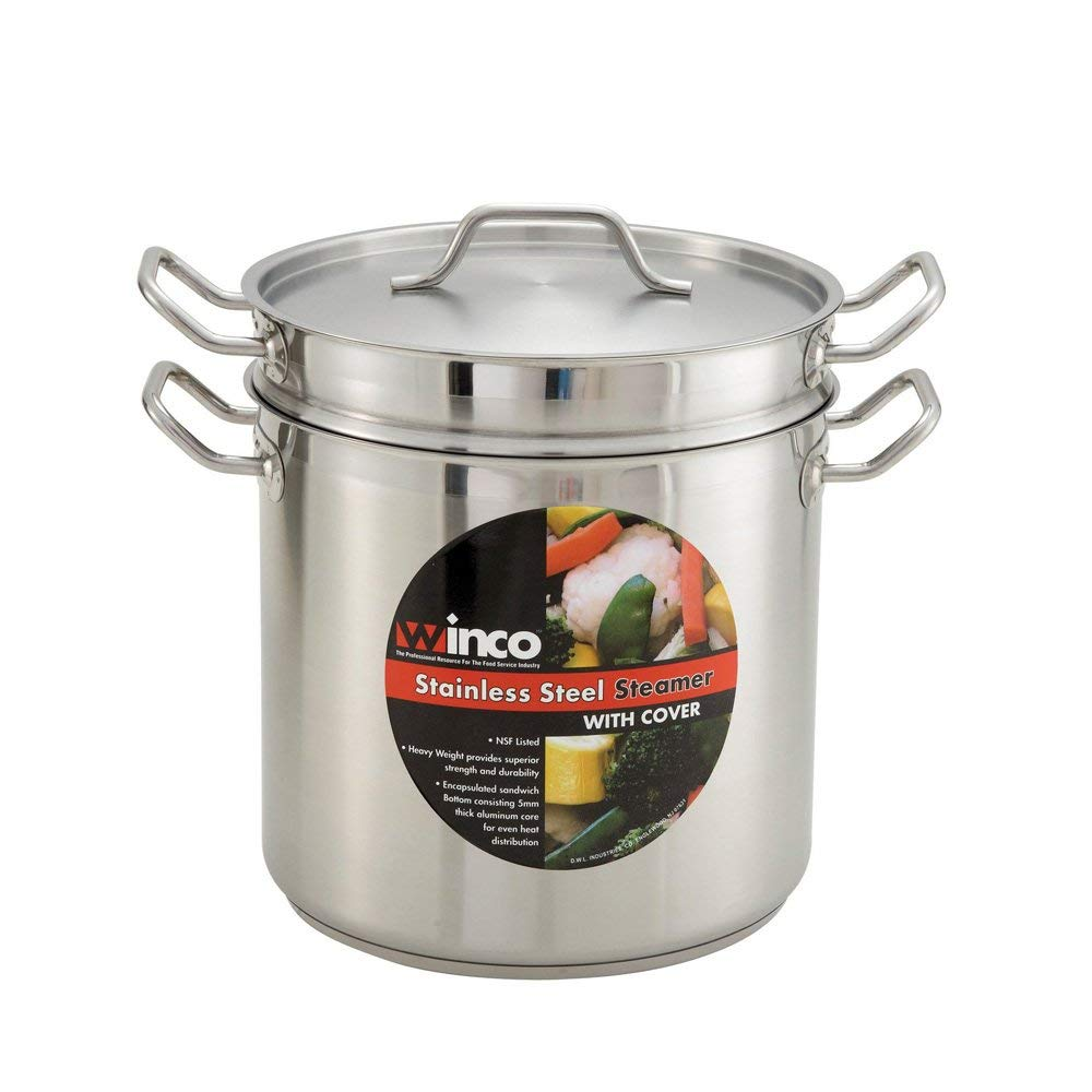 "Winco SSDB-12S, 12-Quart 10-1/4"" x 8-1/2"" x 9-3/8"" Commercial Grade Stainless Steel Steamer and Pasta Cooker With Cover, Double Boiler with Lid, NSF"