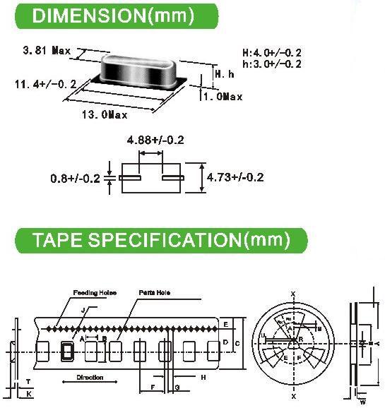 HC49S SMD 20M 20.000MHz 20MHz Quartz Crystal Resonator