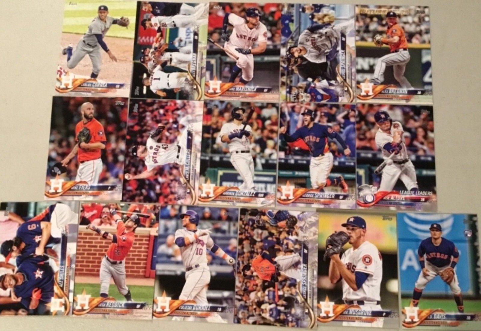 2018 Topps Houston Astros Team Set of 16 Baseball Cards (Series 1)