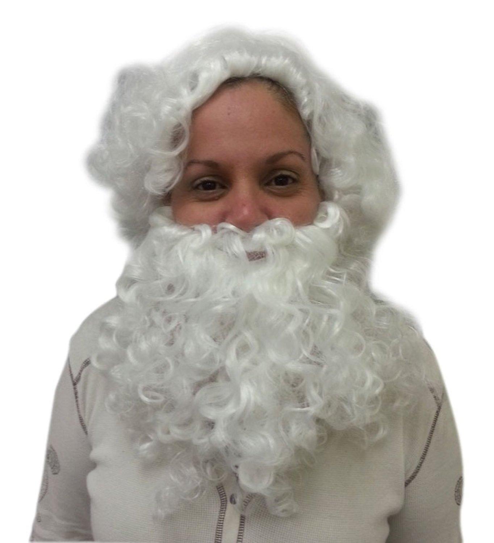 Santa Claus Wig And Beard Set - Set Of Santa Claus Rich White Curly Wig And Beard