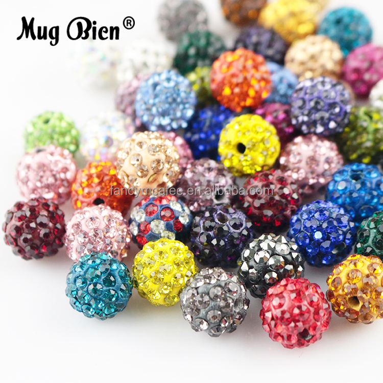 Wholesale Custom Loose Shamballa Beads For Necklace Jewelry DIY