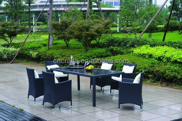 Outdoor PE rattan Dining Set with 6 armchairs and 1 glass-topped rectangular table (LD-HC0161)