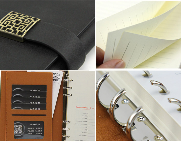 Custom pu leather hardcover business replaceable stationery gift traveler journal loose leaf notebook