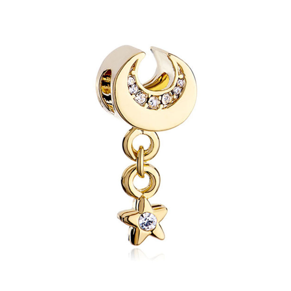 Pandora April Birthstone Earrings: Free Shipping Golden Golde Crescent Moon Star Dangle April