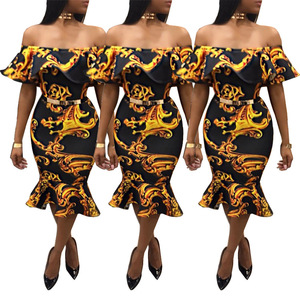 African Off-Shoulder Dress Vintage Apparel Woman Dress Party Women Clothing