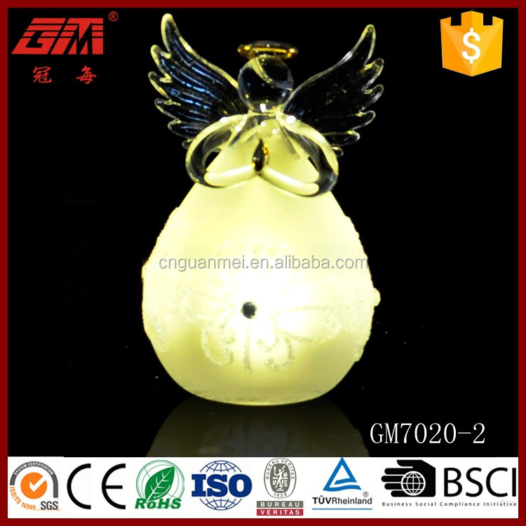 Popular christmas glass angel decoration with led for USA