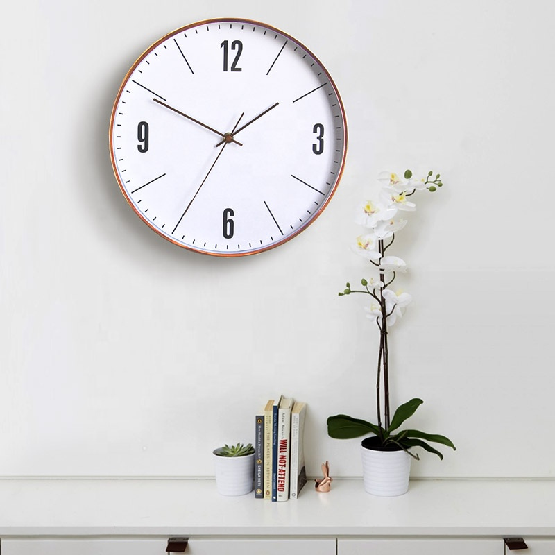 Modern 30cm Rose Gold Wall Clock with Silent Sweep for Home Decorative Clock