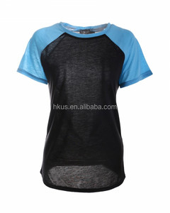 Light Blue Shoulder Black net front tee for ladies Casual Wear Elastic T Shirt Ladies Style Slim and Smart Shirts Summer Wear
