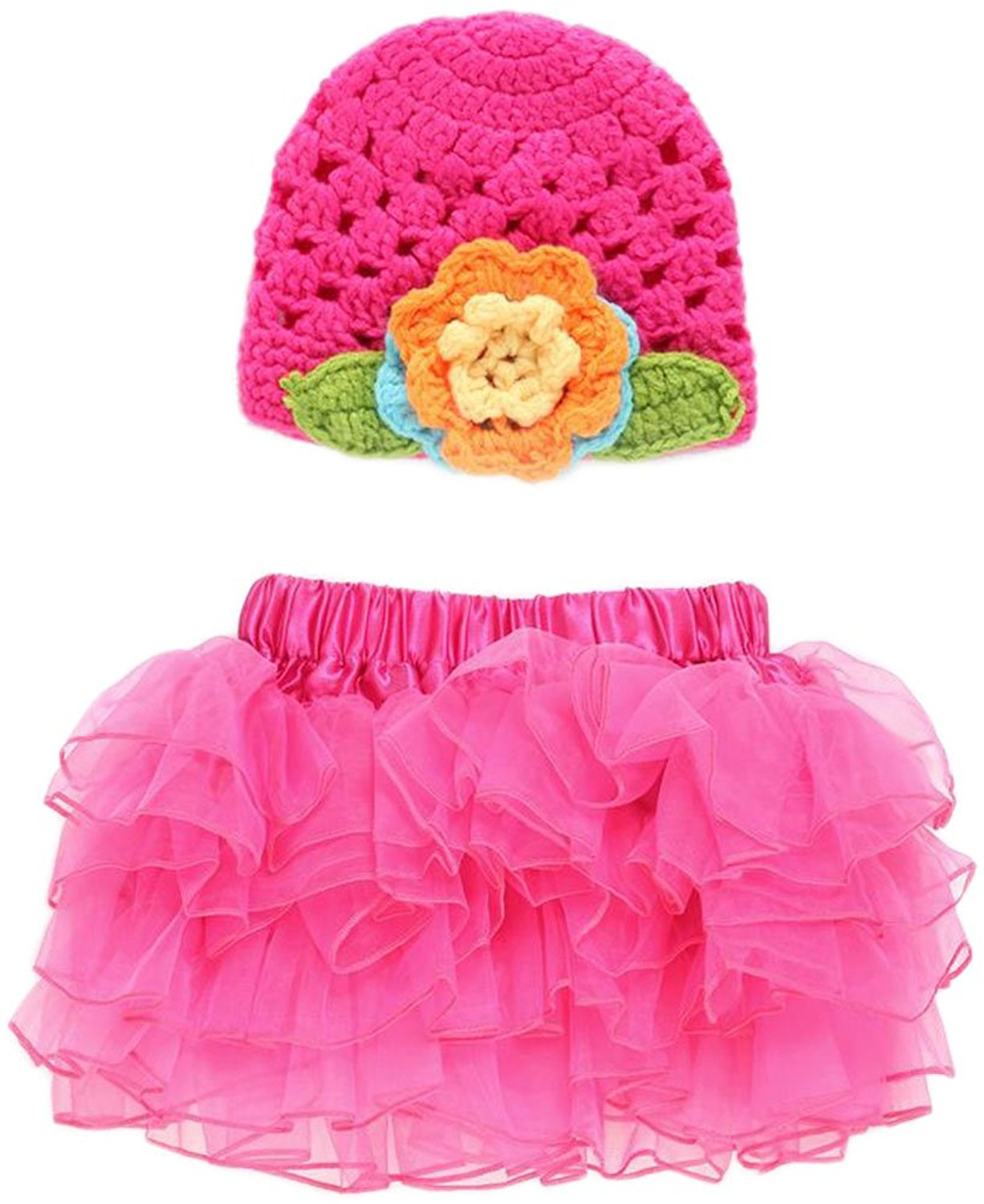9d5237fc552 Get Quotations · Bettyhome Baby Girls Photo Prop Crochet Knit Hat with Tutu  Skirt Costume Outfit