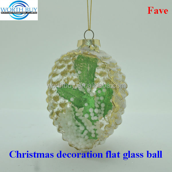 Green maple leave in pine corn decorated clear glass christmas balls wholesale