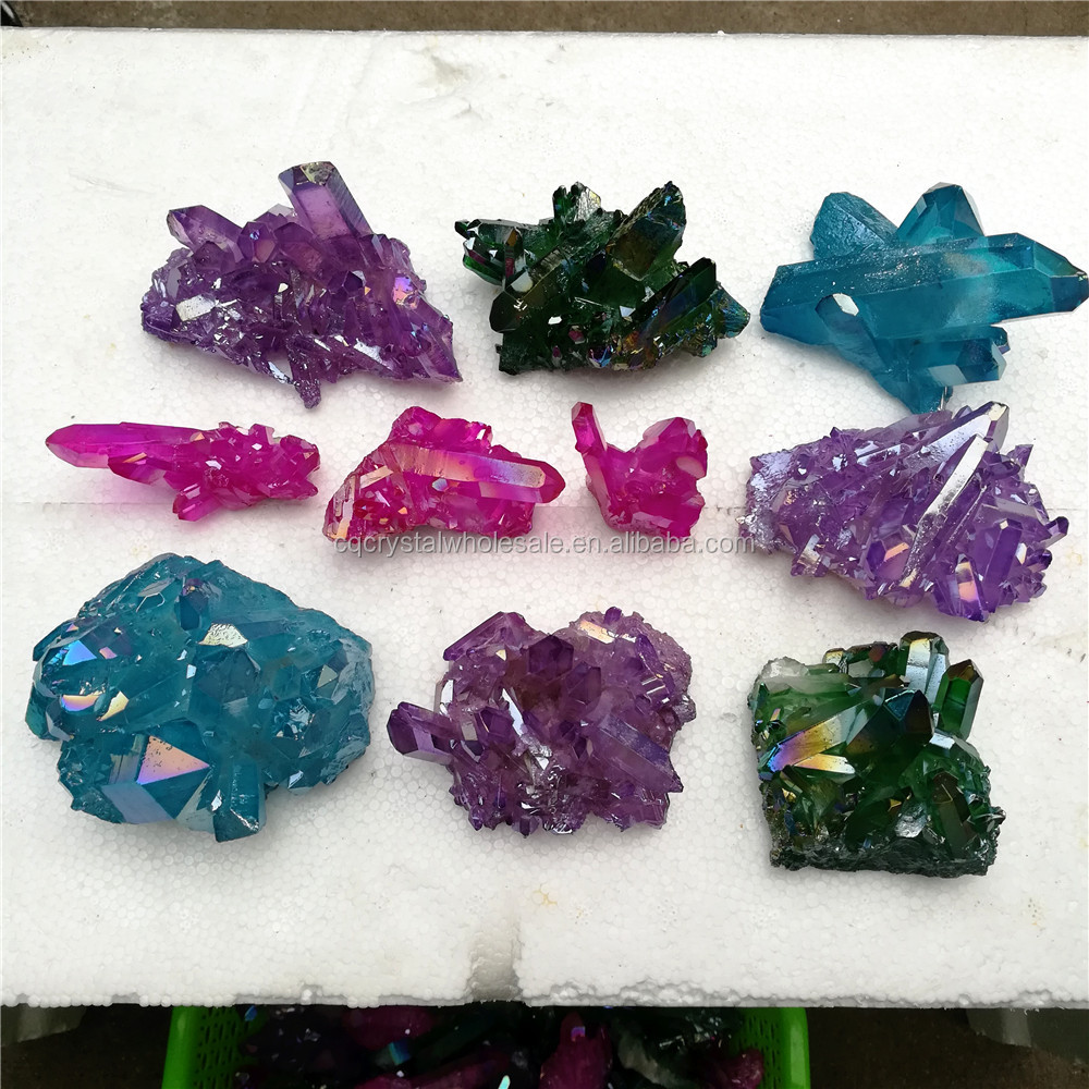hot sale aura quartz spirit angle titanium colorful crystal cluster