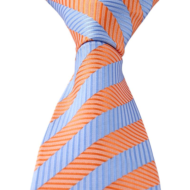 Get Quotations New 2017 Orange Blue Striped Clic Jacquard Woven Mens Necktie Ties Clothing For Wedding Man
