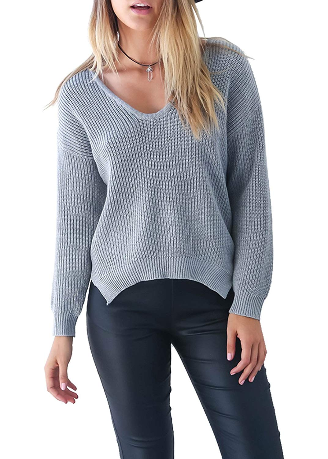 Get Quotations · Wink Gal Women s Winter Knit V Neck Loose Long Sleeve  Sweater Jumpers 58b74e9a5