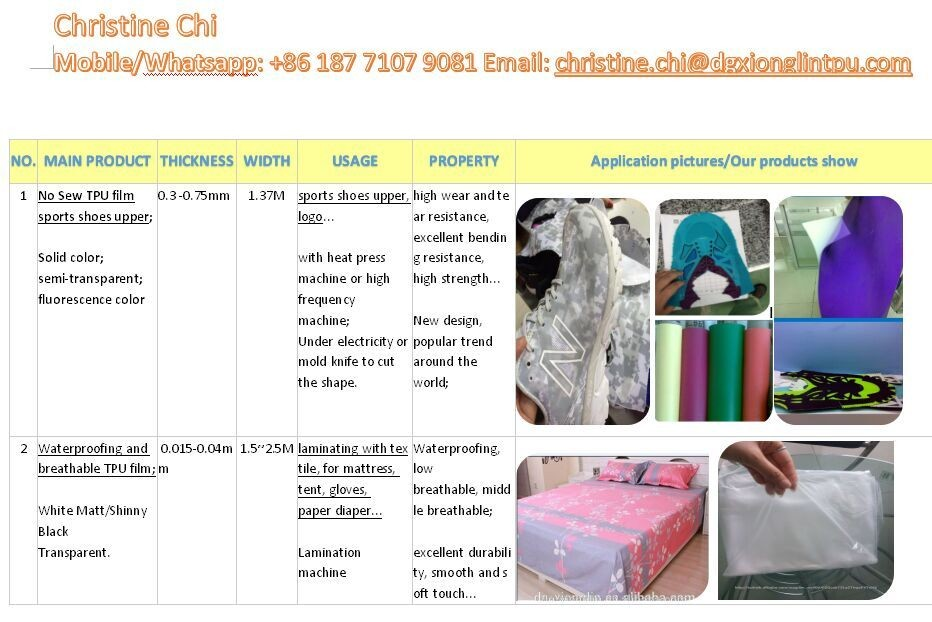 TPU Hotmelt Adhesive Film for Lamination with Leather Also Fabrics and Textiles