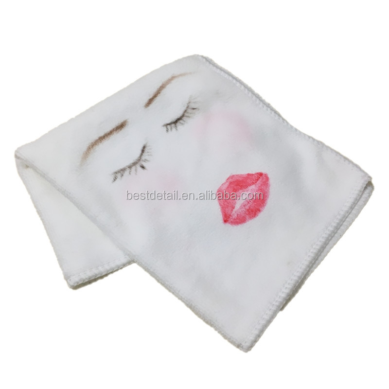 White Microfiber Washcloths Hand / Facial Towel Makeup Remover Towel