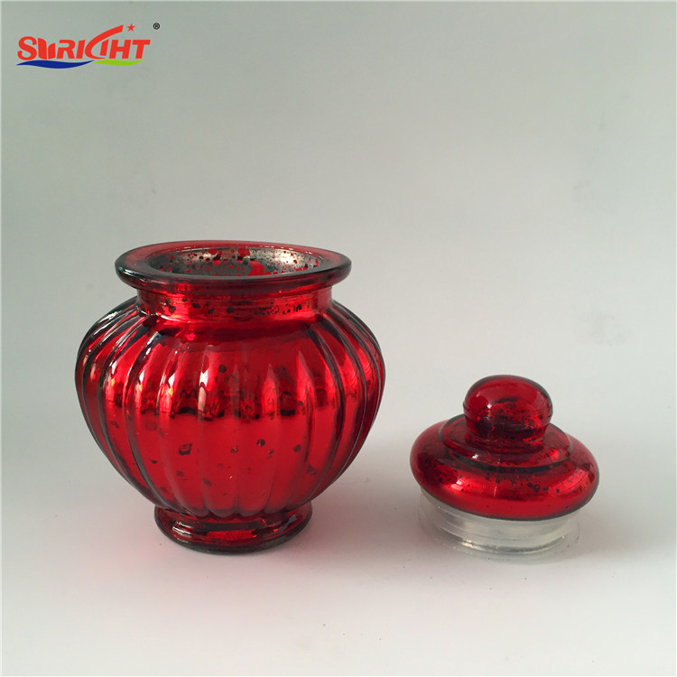 Glass Cups with Lid Red Silver Paint Glass Candy Jar Shape Candle Holder