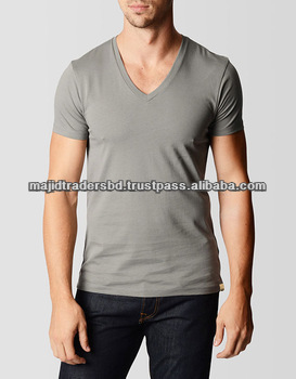 knitted single jersey 100%cotton v-neck t-shirt for adult