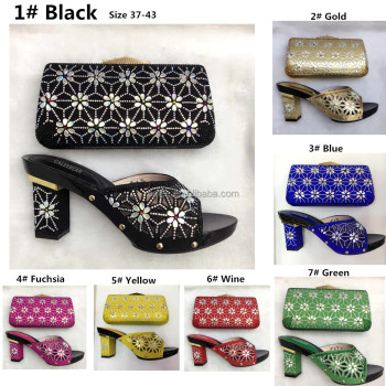 Italian Floral High Heel Ladies shoes men Lady women Shoes And Bag To Match Set