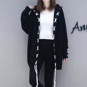 autumn spring fashion women hoodie loose knitted cardigan sweater girl teen lace up ladies cheap winter casual coat