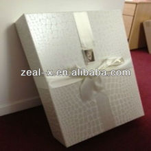 New arrival cardboard rigid silver white wedding gift box with ribbon decorative