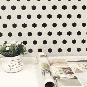 MM Mosaic 1'' glossy black dot hexagon mosaic ceramic floor tile wholesale