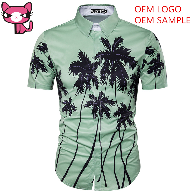 100% Polyester heren hawaiiaanse shirt