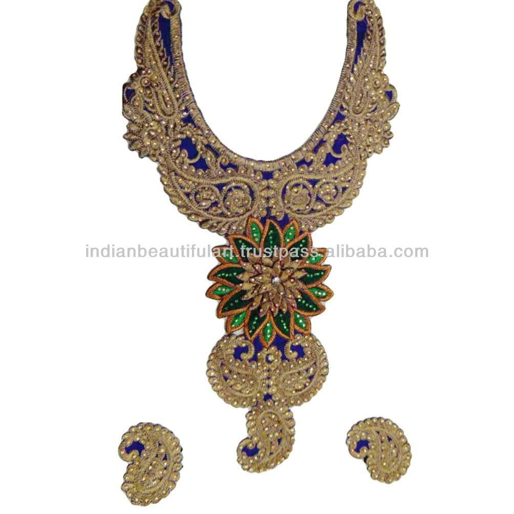 Choli Cut Designer Embroidery Green Base Neck Applique