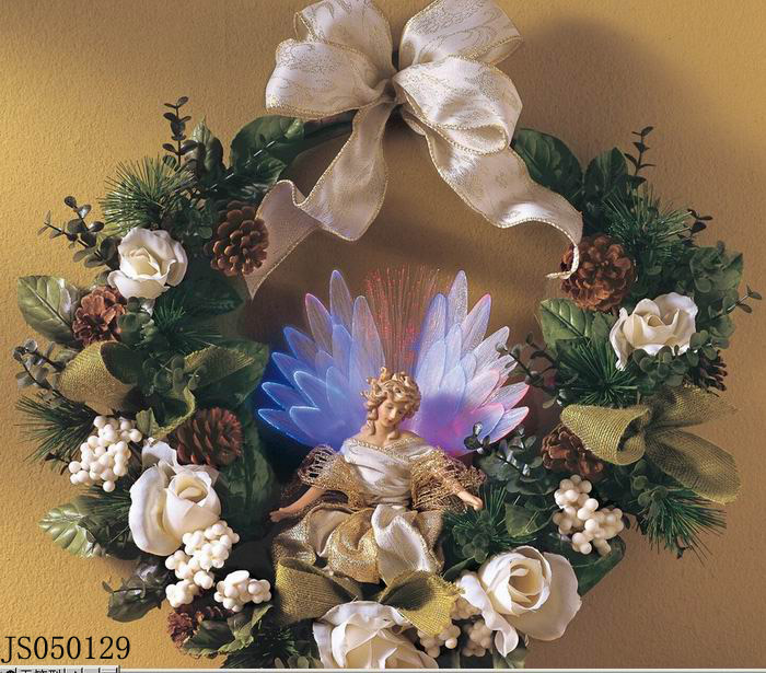 Christmas wreath with fiber optic angel and bow tie decoration