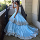Newest Sleeveless Puffy Satin Gold Lace Ice Blue Ball Gown Wedding Dress