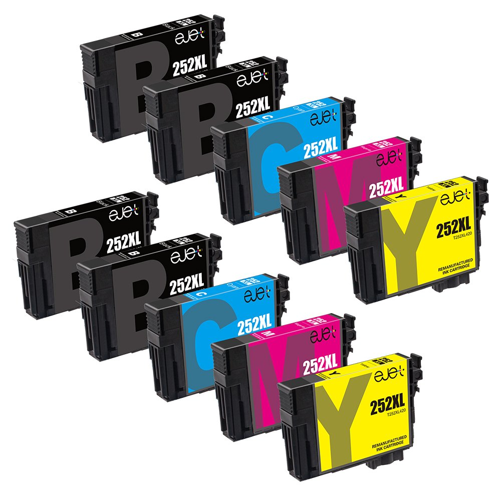 E-jet Remanufactured for Epson 252 252XL Ink Cartridge Combo Pack use with Epson WorkForce WF-3640 WF-3630 WF-3620 WF-7610 WF-7620 WF-7110 Printer (10 Pack)