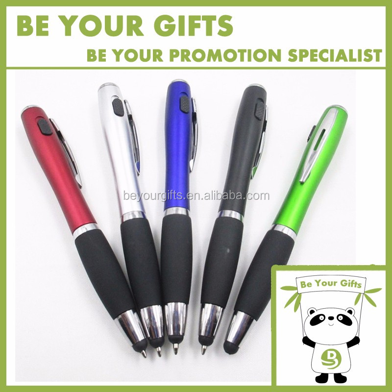 Custom Logo Imprint Multi-functional LED ball point pen with stylus touch screen and rubber grip